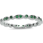Womens Green emerald eternity ring