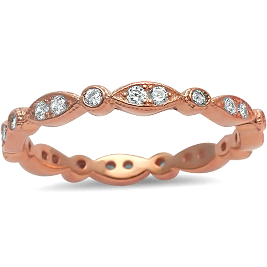 Womens stacking eternity ring with diamond eyes in rose gold