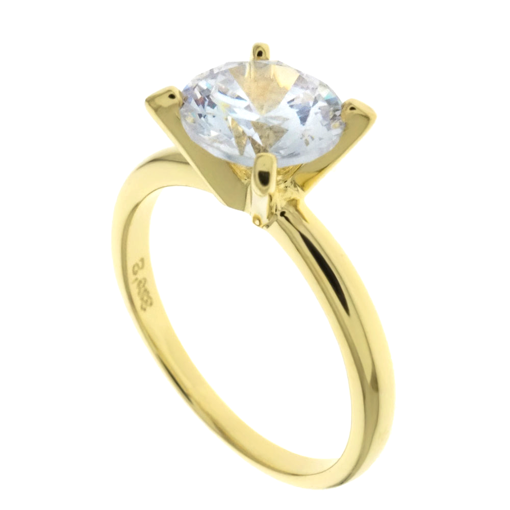Womens yellow gold sterling silver Tiffany style ring