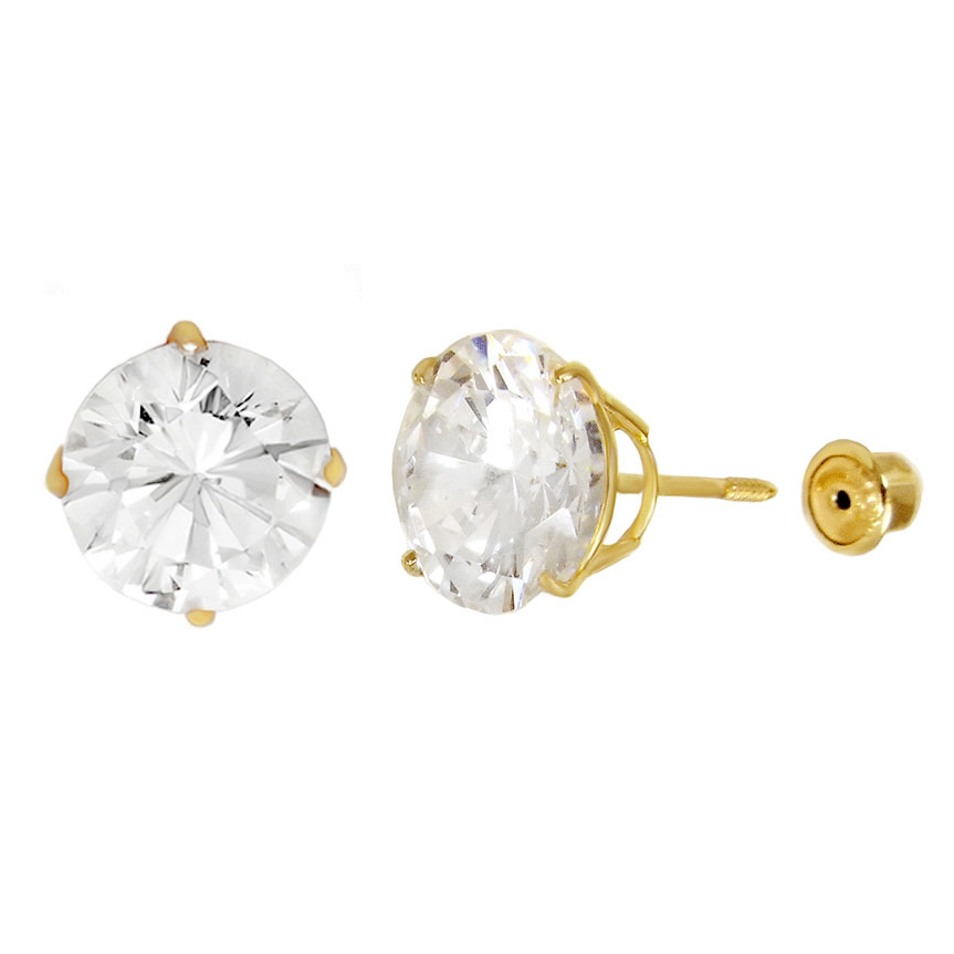 14K Yellow Gold Round Cut CZ Stud Earrings 2mm-8mm Screw Back Casting Setting Ladies Mens Baby Kids