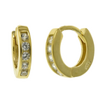 Womens and kids yellow gold huggie hoop earrings