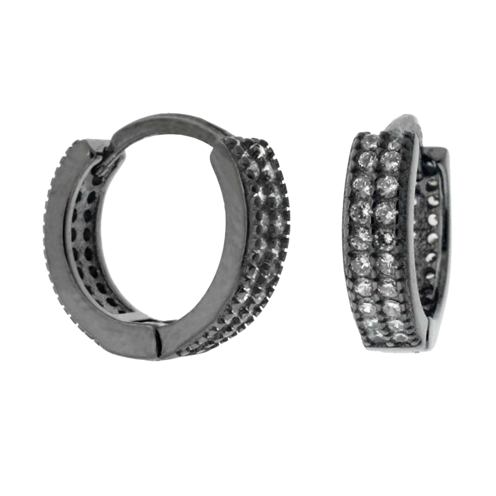 Womens and girls black huggie hoop CZ earrings