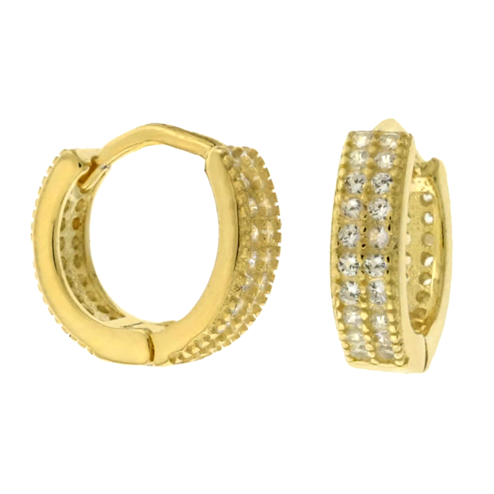 Womens and girls yellow gold huggie hoop CZ earrings