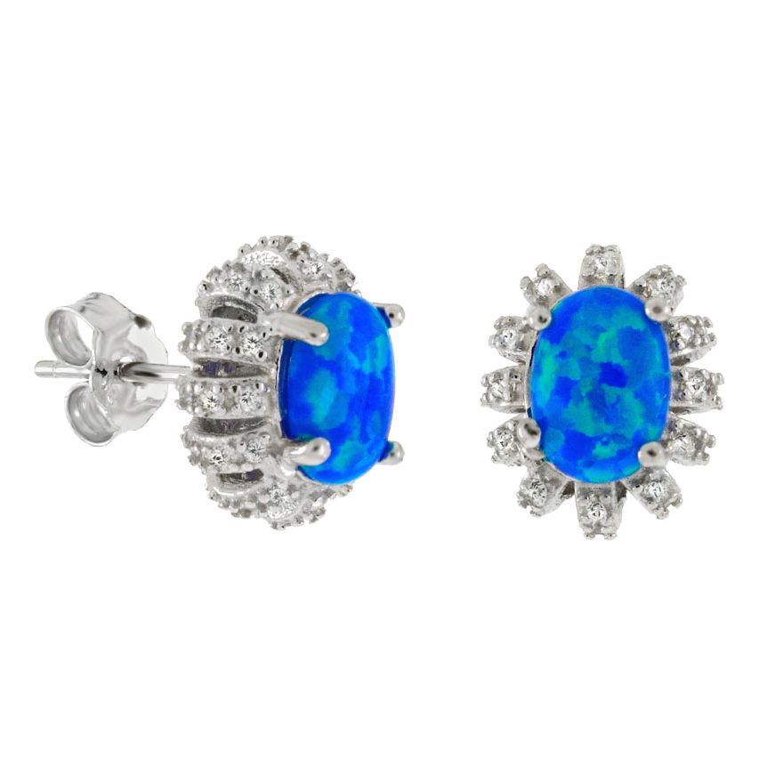 .925 Sterling Silver Blue Fire Opal Ladies Cluster CZ Stud Earrings