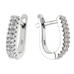Womens and girls double bar huggie hoop earrings