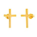 Womens and girls yellow gold cross earrings