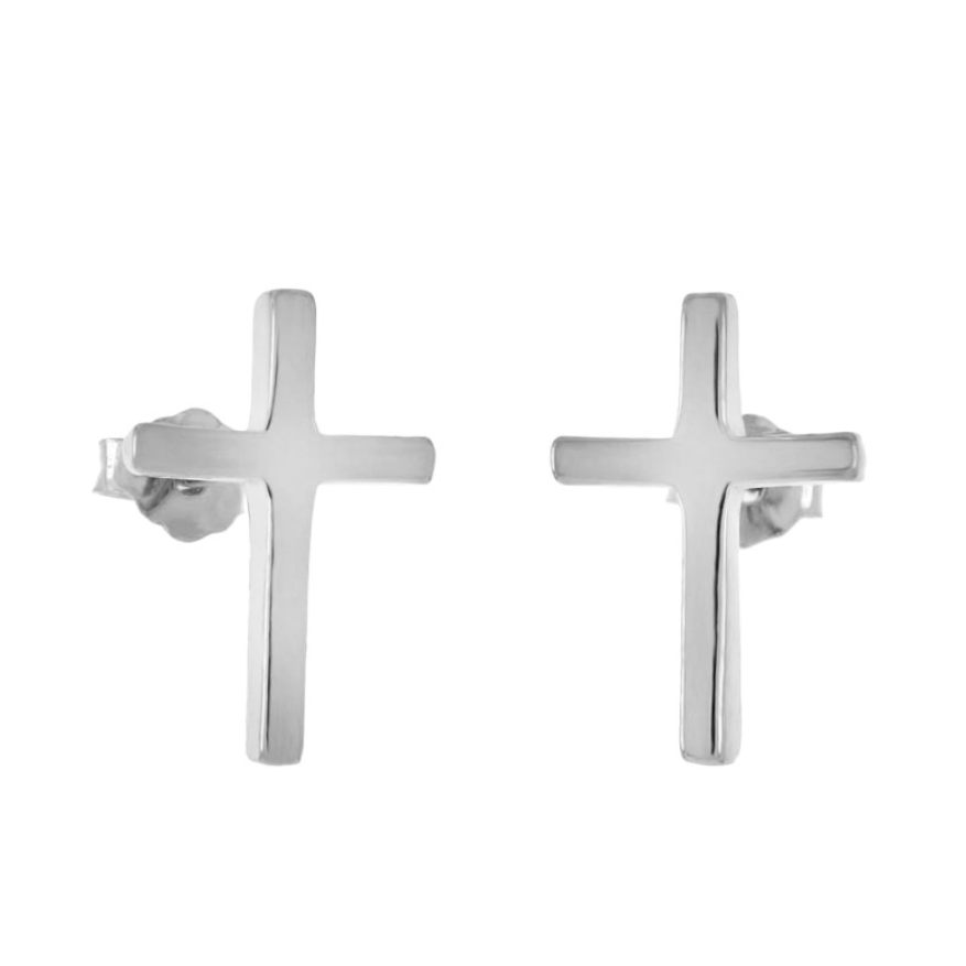 Womens and girls silver cross earrings