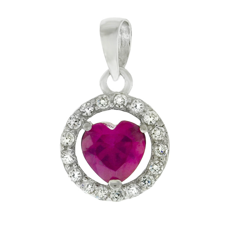 Bright pink light red ruby heart halo pendant necklace