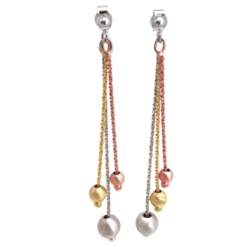 Womens dangle chain and ball earrings