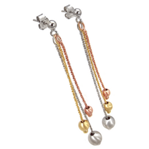 Womens rose yellow gold and silver dangle twist earrings