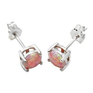 Pink fire opal stud earrings