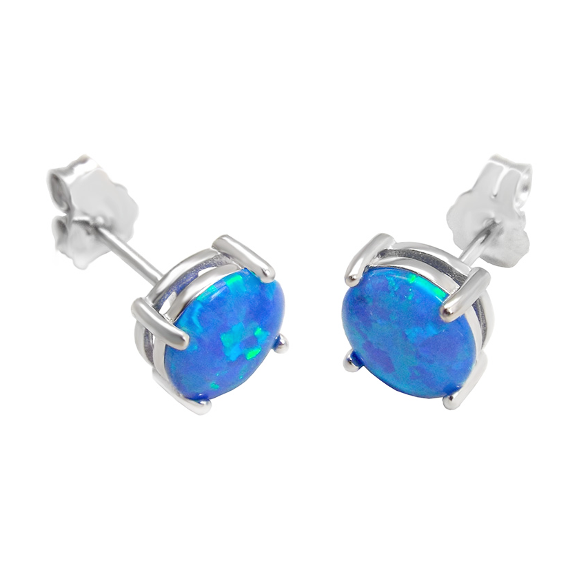 Womens and girls blue opal earrings
