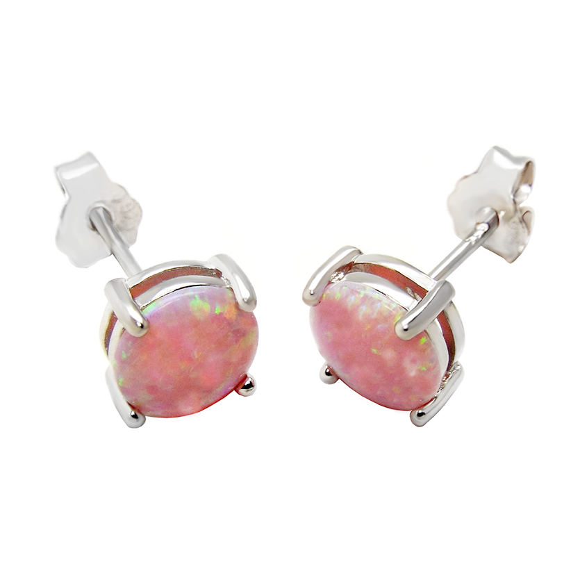 Womens and girls pink opal earrings