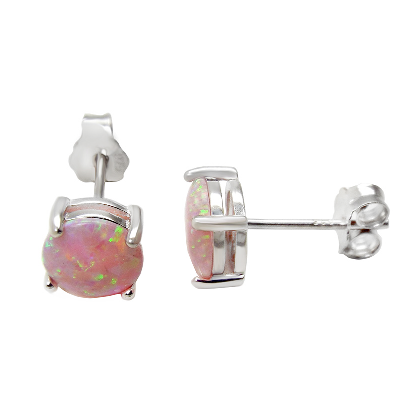 Sterling Silver pink opal stud earrings