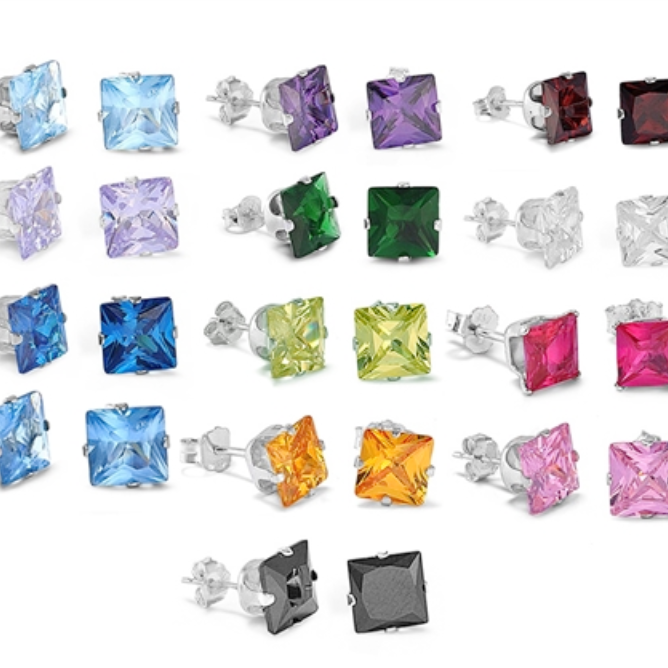 .925 Sterling Silver Princess Square Cut CZ Stud Birthstone Earrings Ladies and Kids in 3mm-8mm