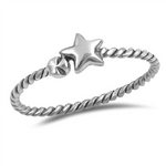 .925 Sterling Silver Star Ring Rope Band Ladies and Kids Size 3-10