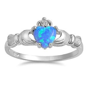 .925 Sterling Silver Blue Opal Irish Claddagh Ring Size 4-12 by Blades and Bling