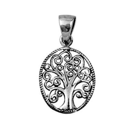 Sterling Silver Oval Family Tree of Life Heart Infinity Swirl pendant (Yggdrasil) - Blades and Bling Sterling Silver Jewelry