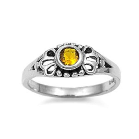 Sterling Silver Yellow Topaz CZ Ring Size 1-5 by  Blades and Bling Sterling Silver Jewelry