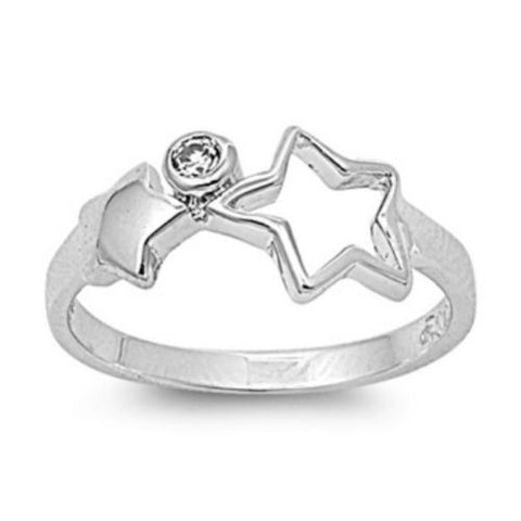 Sterling Silver Clear CZ Star Ring Size 1-5 - Blades and Bling Sterling Silver Jewelry