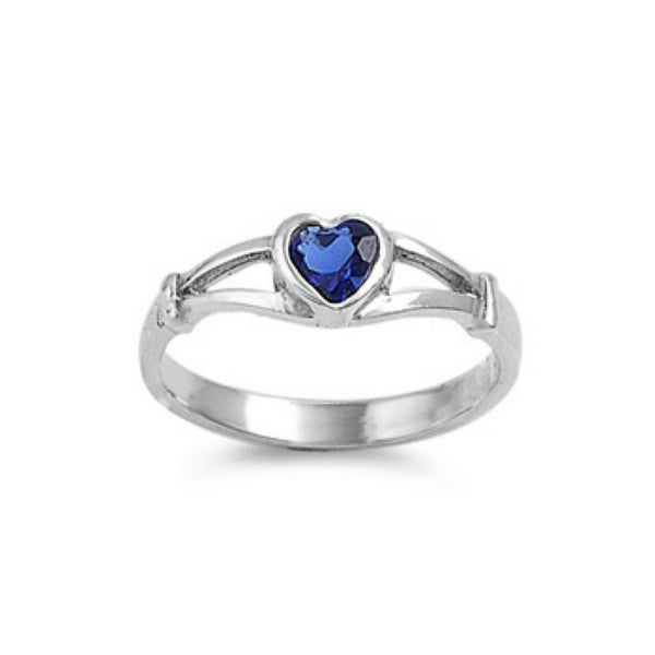 Sterling Silver Blue Sapphire CZ Heart Ring Size 1-5 - Blades and Bling Sterling Silver Jewelry