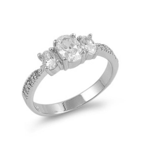 Sterling Silver CZ Three Strones Engagement Ring size 4- 9 by  Blades and Bling Sterling Silver Jewelry