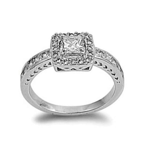 Sterling Silver Halo CZ Princess Cut Engagement Ring size 6-9 - Blades and Bling Sterling Silver Jewelry