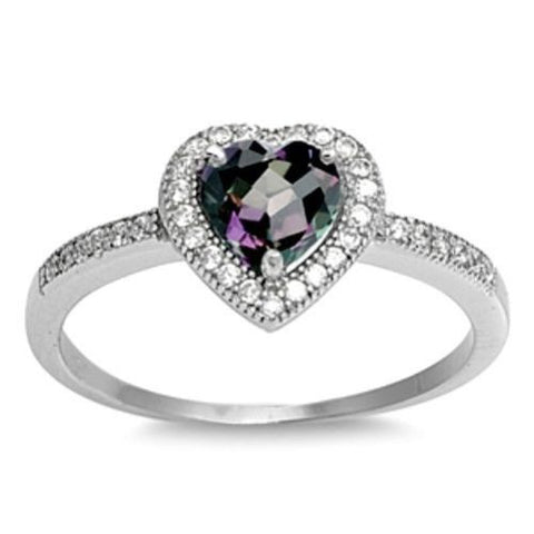 Sterling Silver Halo Rainbow Mystic Topaz CZ Heart Engagement Ring size 4-10 - Blades and Bling Sterling Silver Jewelry