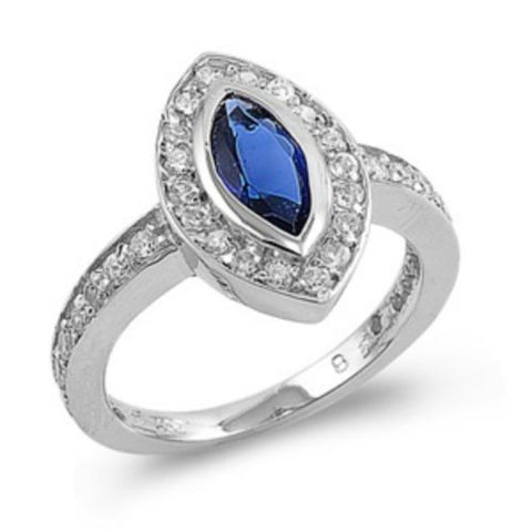 Sterling Silver Halo Blue Sapphire CZ Engagement Ring size 5-10 - Blades and Bling Sterling Silver Jewelry