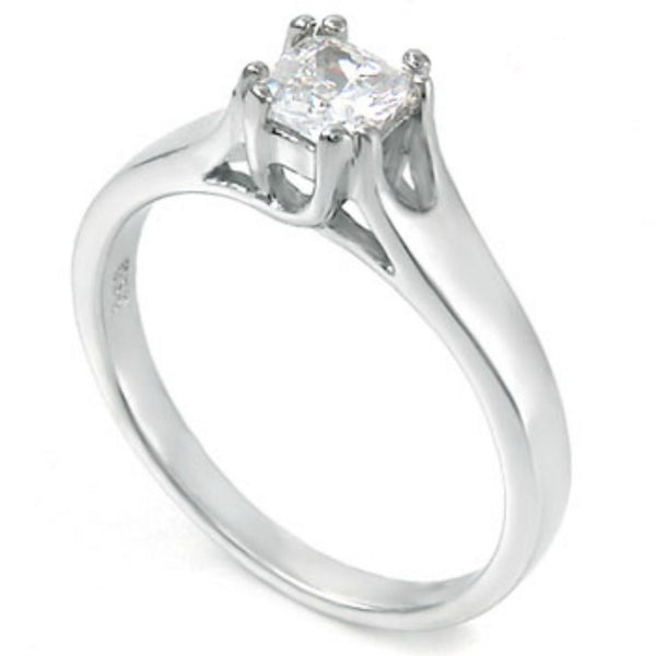 Sterling Silver CZ Princess Cut Engagement Ring size 5- 9 - Blades and Bling Sterling Silver Jewelry
