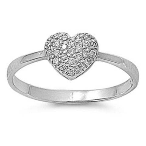 Sterling Silver CZ Heart Engagement Ring size 5- 9 - Blades and Bling Sterling Silver Jewelry