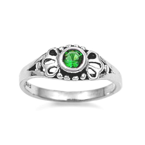 Sterling Silver Green Emerald CZ Ring Size 1-5 - Blades and Bling Sterling Silver Jewelry