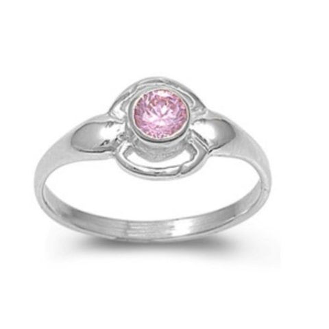 Sterling Silver Pink Topaz CZ Ring Size 1-4 by Blades and Bling Sterling Silver Jewelry
