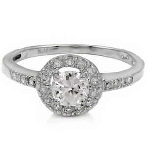 Sterling Silver Halo CZ Engagement Ring size 5-9 - Blades and Bling Sterling Silver Jewelry