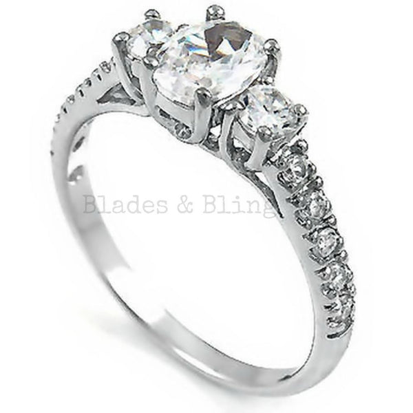 Sterling Silver CZ Three Strones Engagement Ring size 5-9 - Blades and Bling Sterling Silver Jewelry
