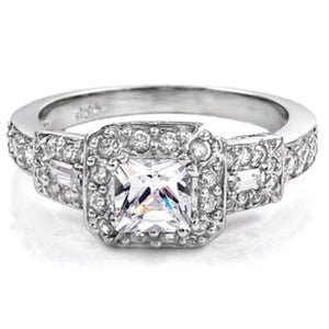 Princess Cut White CZ Halo Wedding Ring New .925 Sterling Silver Band Sizes 4-11