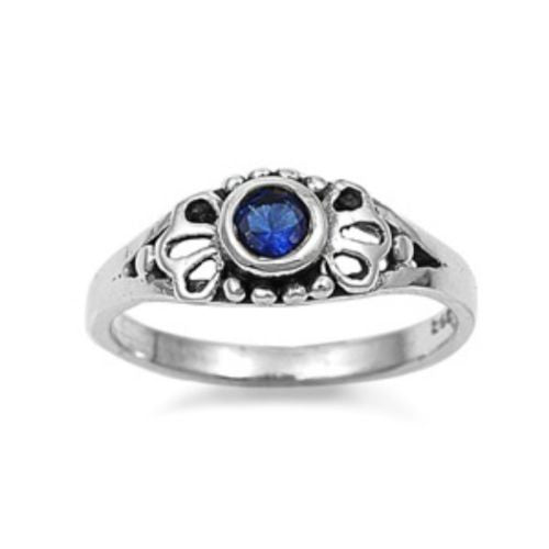 Sterling Silver Blue Sapphire CZ Ring Size 1-5 - Blades and Bling Sterling Silver Jewelry