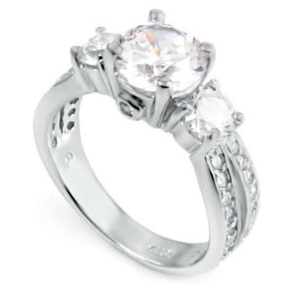 Sterling Silver CZ Three Stone Engagement Ring size 4-11 - Blades and Bling Sterling Silver Jewelry