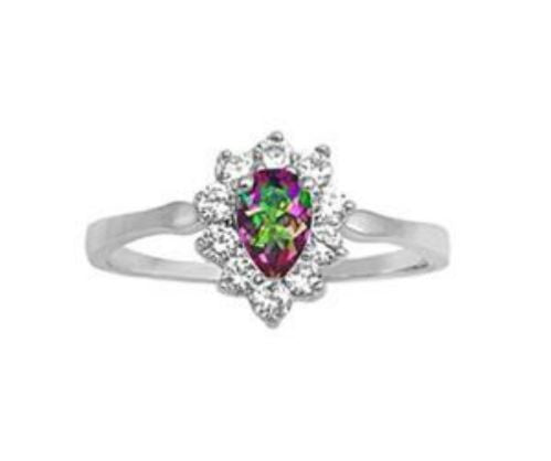 Sterling Silver Halo Rainbow Mystic Topaz CZ Engagement Ring size 5-9 by  Blades and Bling Sterling Silver Jewelry