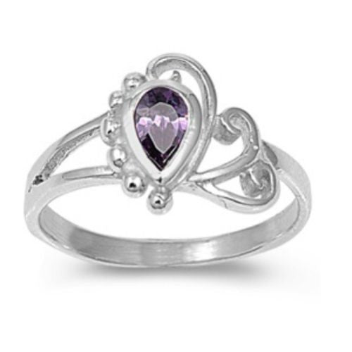 Sterling Silver Amethyst Purple CZ Ring Size 1-5
