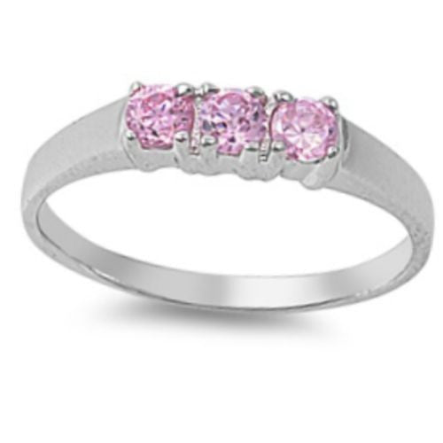 Sterling Silver Pink Topaz CZ Three Stone Ring Size 1-5 by Blades and Bling Sterling Silver Jewelry
