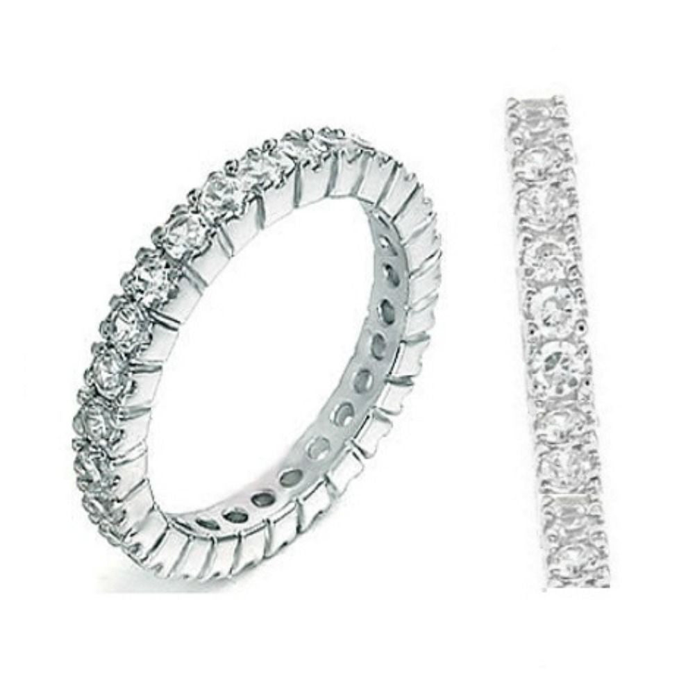 Sterling Silver CZ Eternity Wedding Band Ring size 4-11