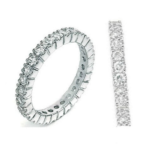 Sterling Silver CZ Eternity Wedding Band Ring size 4-10 - Blades and Bling Sterling Silver Jewelry