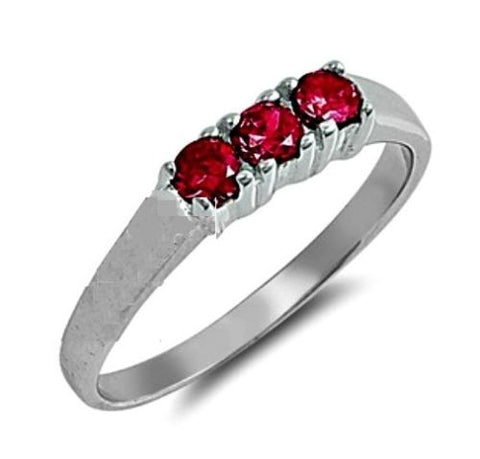 Sterling Silver Ruby Red CZ Three Stones Ring Size 1-5 by Blades and Bling Sterling Silver Jewelry