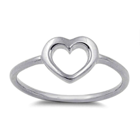 Sterling Silver CZ Baby, Ladies, Midi, Knuckle Open Heart Ring Size 1-9  by  Blades and Bling Sterling Silver Jewelry