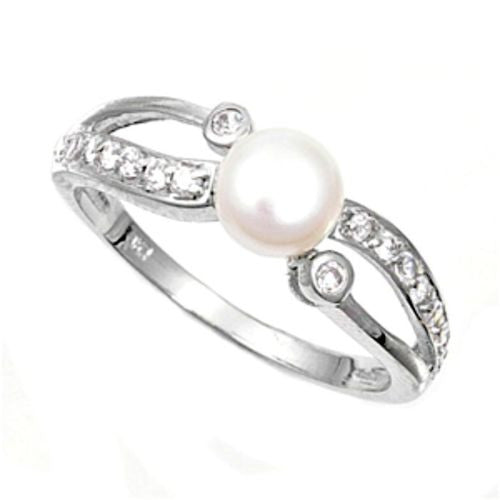 Sterling Silver CZ Pearl Wedding Band Ring size 4-10 - Blades and Bling Sterling Silver Jewelry