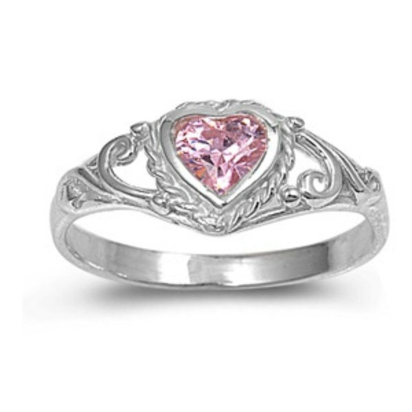 .925 Sterling Silver Pink Topaz CZ Heart Ring Size 1-5