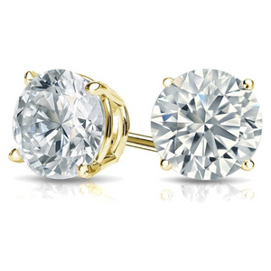 .925 Sterling Silver Ladies Round Cut Yellow Gold CZ Stud Earrings 2mm-10mm Casting Setting