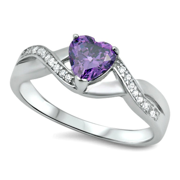 .925 Sterling Silver Purple Amethyst CZ Heart Celtic Ladies promise ring size 5-11
