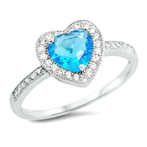 Luminous blue aquamarine womans heart ring in sterling silver